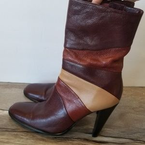 Retro inspired leather midi boots Heeled leather